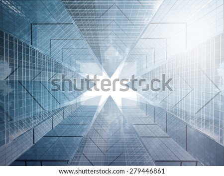 Architectural composition made of corporative buildings. Abstract business background - stock photo