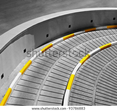Architectural concrete urban abstraction - the entrance to underground parking - stock photo