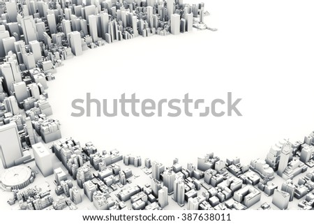 Architectural 3D model illustration of a large city on a white background with a cut out circle with room for text or copy space. - stock photo