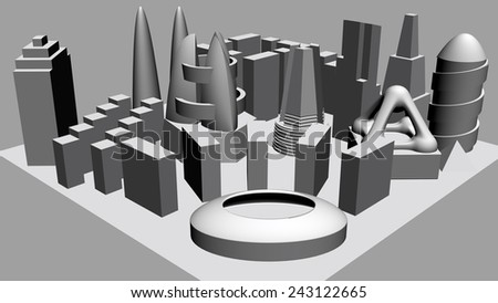 Architectural 3D model miniature downto... - stock photo