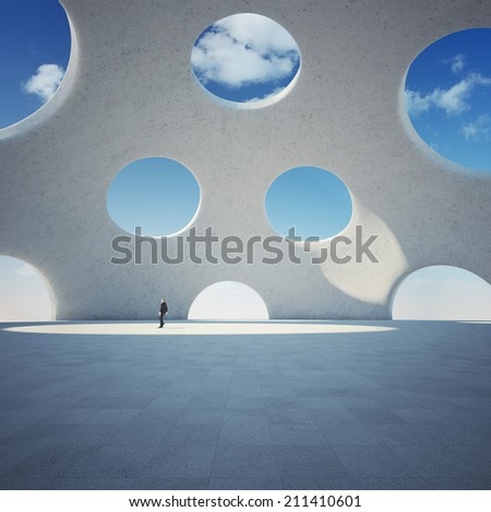 Architectural design of modern building with figure of business man