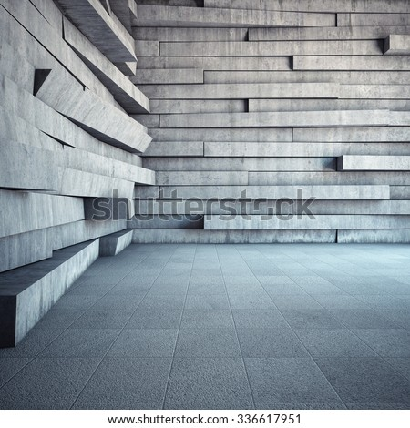 Architectural design of room made of concrete with abstract geometry - stock photo