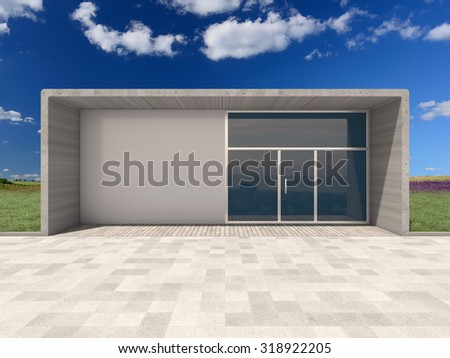 Architectural design shop among nature - stock photo