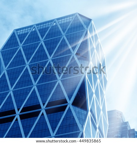 Architectural detail and sun rays in Manhattan, New York - stock photo