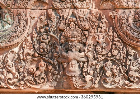 architectural detail at Banteay Srei, a historic temple in Cambodia