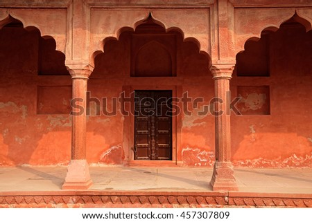 Architectural detail at the entrance to the famous Taj Mahal, Agra, India