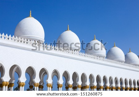 Architectural detail from the majestic Sheikh Zayed Bin Sultan Al Nahyan Mosque. This Mosque is one the world�s largest mosques, with a capacity for 40,000 worshippers.