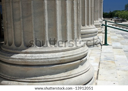 Architectural detail:  Huge columns - stock photo