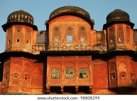 Architectural detail in Pink City of Jaipur, Rajasthan, India - stock photo