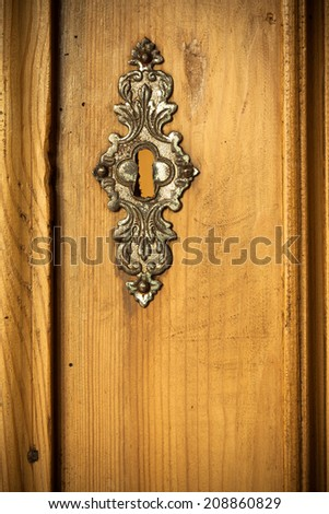 Architectural detail in retro style. Closeup of vintage wooden door with metal ornament as background.