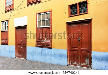 Architectural detail in San Cristobal de la Laguna, Tenerife, Canary Islands - stock photo