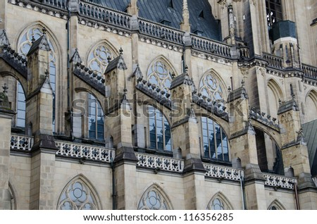 Architectural detail in the new cathedral (Neuer Dom) in Linz, Upper Austria - stock photo