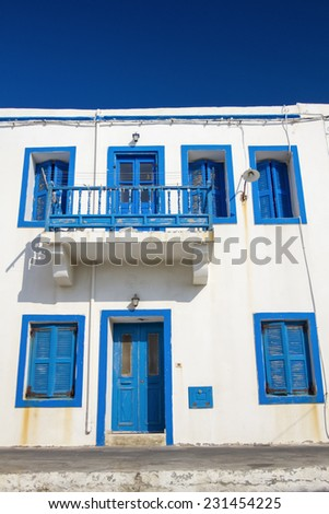 Architectural detail, Nissiros, Greece. - stock photo