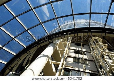Architectural detail of a modern hospital building - stock photo
