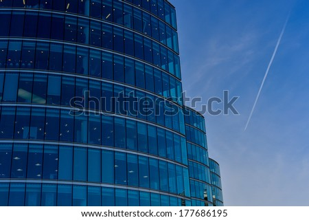 Architectural detail of an office block - stock photo
