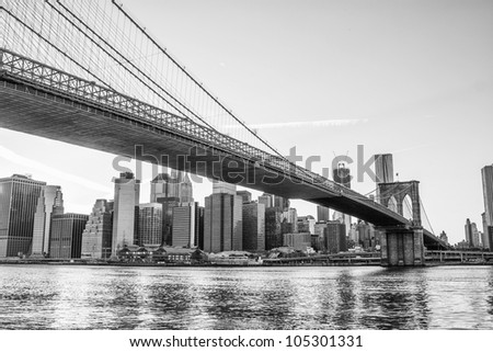 Architectural Detail of Brooklyn Bridge in New York City, U.S.A. - stock photo