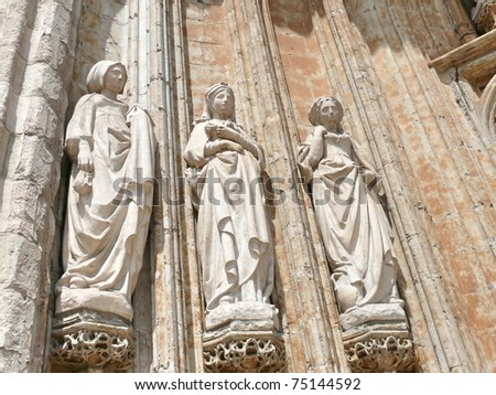 Architectural detail of famous Church of Our Lady of Sablon. Late Gothic. Brussels, Belgium. - stock photo