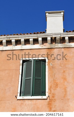 Architectural detail of Italian house in Venice - stock photo