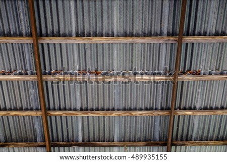 Architectural detail of metal roof.