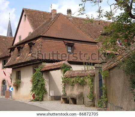 architectural detail of Mittelbergheim, a village of a region in France named Alsace - stock photo
