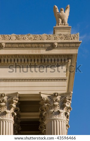 Architectural detail of National archive in Washington dc - stock photo