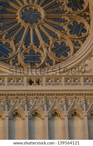 Architectural detail of National Cathedral in Washington DC  - stock photo