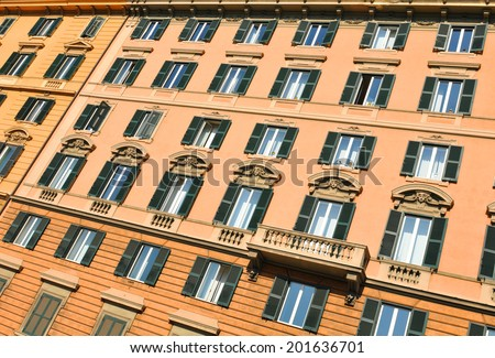 Architectural detail of old house in Rome, Italy - stock photo