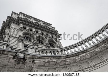 Architectural detail of  Palace of Parliament in Bucharest. - stock photo