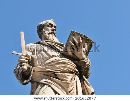 Architectural detail of Roman statue in Vatican, Rome - stock photo