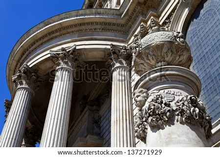 Architectural detail of St. Paul's Cathedral in London. - stock photo