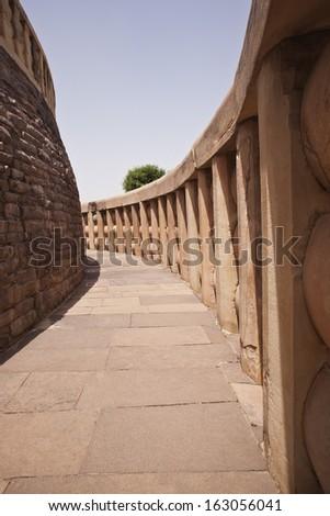 Architectural detail of the ancient stupa at Sanchi, Madhya Pradesh, India - stock photo
