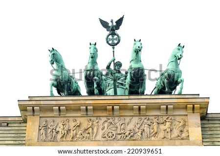 Architectural detail of the Brandenburger Tor in Berlin, Germany - stock photo