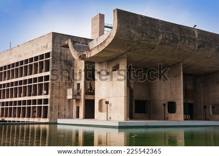 Architectural detail of The Chandigarh Legislative Assembly building, a great example of modernistic architecture in India. It is part of The Capitol Complex designed by noted architect Le Corbusier.  - stock photo