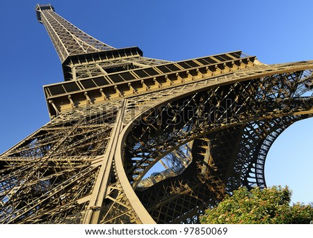 architectural detail of the famous Eiffel tower, Paris, France - stock photo