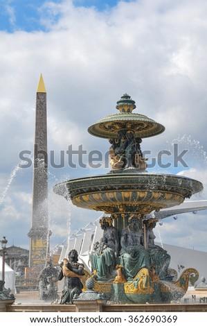 Architectural detail of the Fontaines de la Concorde, two monumental fountains located in the Place de la Concorde in cental Paris. - stock photo