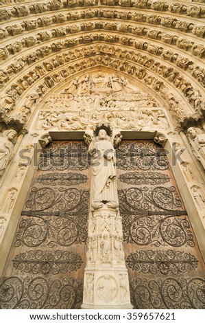 Architectural detail of the Notre-Dame cathedral in Paris, France - stock photo