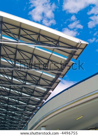 Architectural detail of the Prague airport. - stock photo
