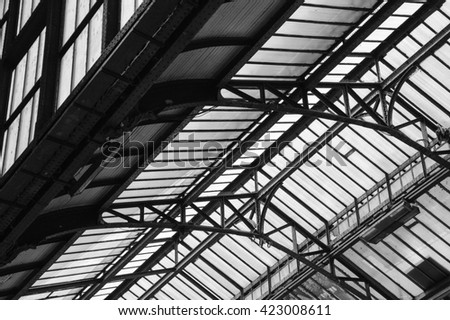 Architectural Detail Of Transparent Metal Roof Of Lyon Railway Station In  Paris (France).