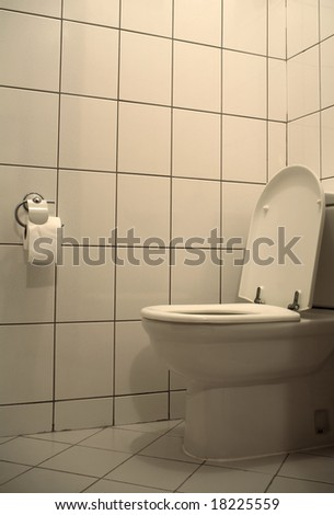 architectural detail shot of a house toilet - stock photo