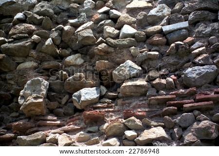architectural detail shot of a rock wall