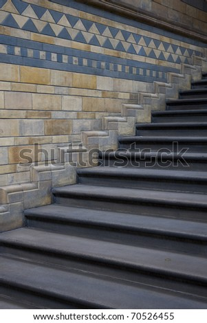 Architectural detail - stairs in Natural History Museum, London. - stock photo