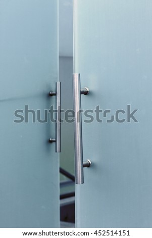 Architectural detail structure of glass and metal - stock photo