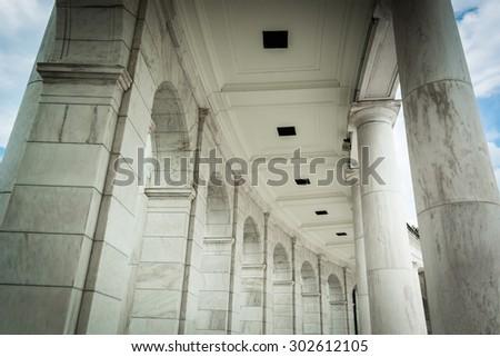 Architectural details at the Arlington Memorial Amphitheater in Arlington, Virginia. - stock photo