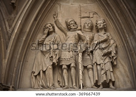 Architectural details from the external walls of St Stephen's Cathedral in Vienna, Austria - stock photo