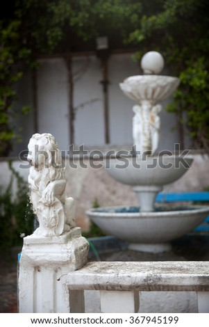 Architectural details from the yard of small Orthodox church in Greece