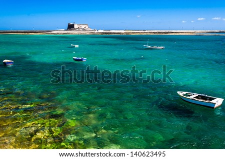 Architectural details in Arrecife, Lanzarote. View over the golf - stock photo