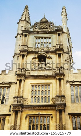 Architectural details of a building, Oxford University, Oxford, Oxfordshire, England - stock photo