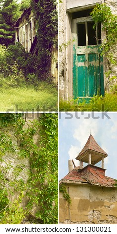 Architectural details of an old abandoned country schoolhouse, built in 1909. - stock photo