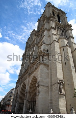 Architectural details of Cathedral Notre Dame de Paris. Cathedral Notre Dame de Paris - most famous Gothic, Roman Catholic cathedral  - stock photo