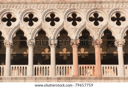 Architectural details of Doge's Palace, Venice, Italy - stock photo